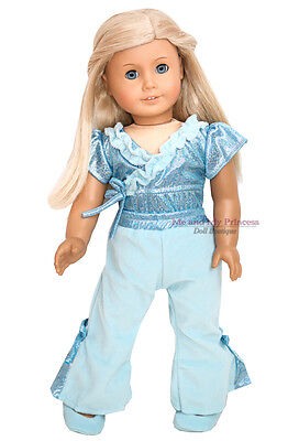 Aqua LEOTARD + PANTS + SHOES DANCE Outfit clothes fits American Girl Doll Only