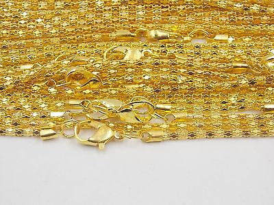 """Lost 10PCS Gold Plated Hollow Snake Chain Necklace With Clasp ,22""""L# G"""
