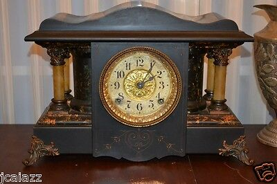 Antique Seth Thomas Adamantine Mantle Clock wood cabinet bakelite columns