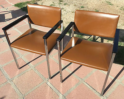 Pair Vintage 1974 Mid Century Modern Steelcase Chrome Chairs In The Knoll Manner