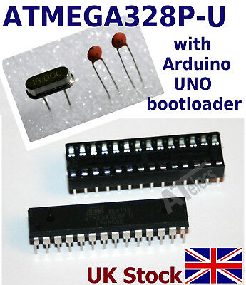 Atmel ATMEGA328P-PU AVR preloaded with Arduino UNO bootloader +16Mhz +2x 22pF