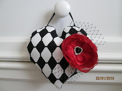 Mother's Day Decorative Hanging Heart Pillow. Flower & French Veil Accent.