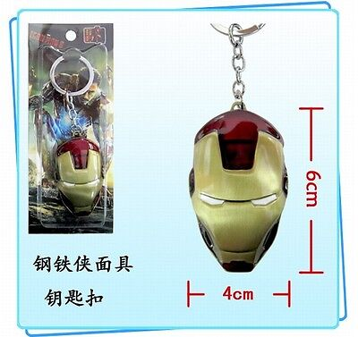 Marvel Comics The Avengers Iron Man 2 Head Golden Mask Metal Key chain ring New