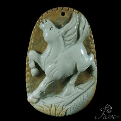 Natural Rare Agate Hand-carved Horse Succor Creek Jasper  Pendant Necklace