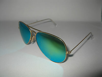 New Ray Ban Aviator 3025 112/19 Green Mirror 58MM Sunglasses 100% Authentic