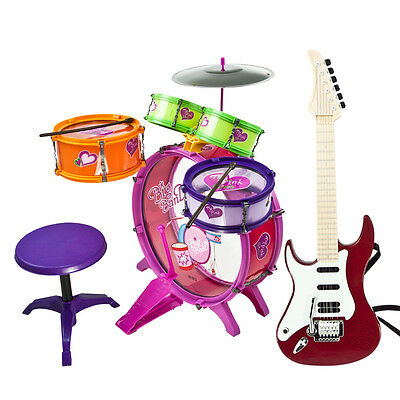 8 PCS Kids Drum Set Girl Musical Instrument Toy Boys Music Band Red Guitar