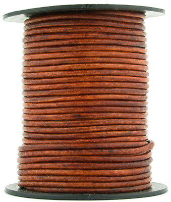 Xsotica® Brown Distressed Red Round Leather Cord 1mm 10 meters (11 yards)