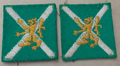 British Army UNIT Formation Patch EAST SCOTLAND  Embroidered PAIR WW2 era