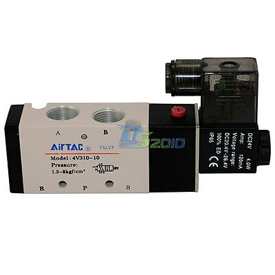 """3/8"""" Inch Pneumatic 5 Way Directional Control Air Cylinder Solenoid Valve 24V DC"""