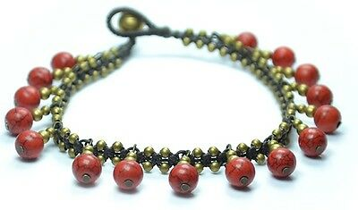 New Anklet Anklets Ankle bracelet with red stones  Handicraft Handmade Thailand