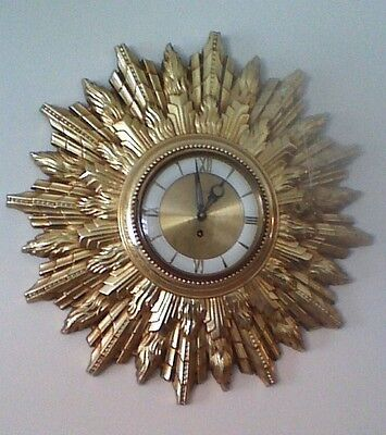 Welby 8 Day Wind Up Wall Clock Mid Century Sunburst Starburst Germany