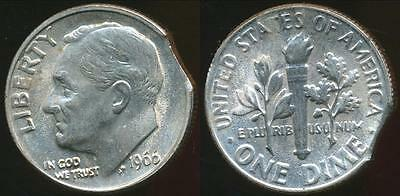 United States, 1966 Dime, Roosevelt, Clipped Planchit Error - Uncirculated