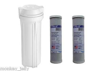 "10"" Housing and 2 x 10"" WATER FILTERS for RO Reverse Osmosis / Aquariums"