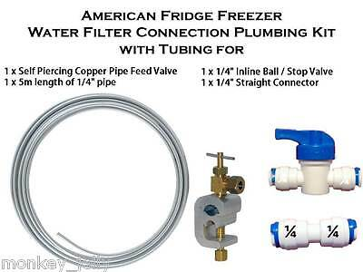 Water Filter Connection Plumbing Kit with Tubing for American Fridge Freezer