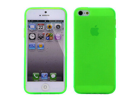 For iPhone 5 5S Ultra Thin Soft TPU Matte Case With Dust Plug green