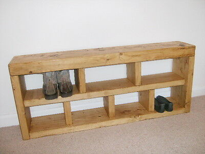 Shoe Rack, Hall Bench, Storage Seat, Handmade, Solid Chunky Rustic Pine, Wood
