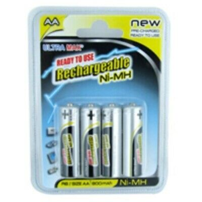 Ultra Max Rechargeable 4 X AA 800 mah Performance Batteries