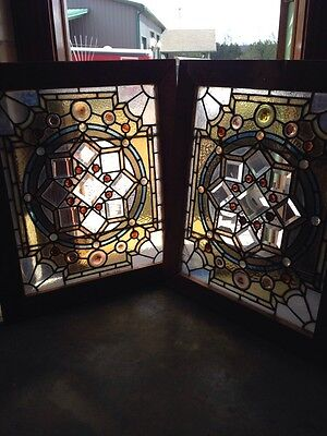 Sg 227 1Pair Magnificent Antique Stained Glass Combination Jewel Bevel  Windows