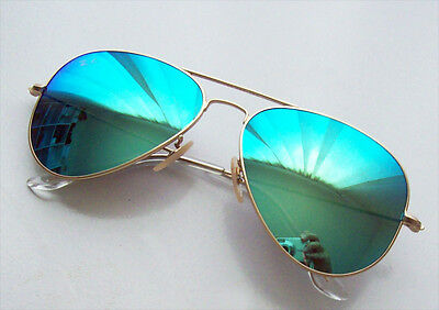 NEW Ray Ban Sunglasses RB3025 GOLD GREEN TURQUOISE MIRROR 112/19 58mm Medium