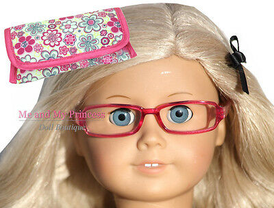 """PINK FRAME GLASSES & CASE Accessory - clothes fit 18"""" American Girl Doll Only"""