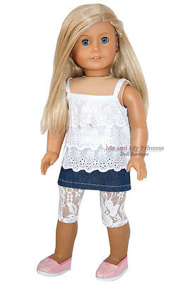 SKIRT + TIER TOP + GLITTER SHOES + LEGGINGS-clothes fit American Girl Doll Only