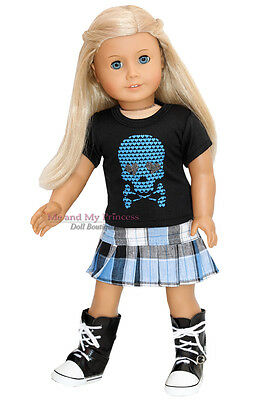 """PLAID SKIRT + SKULL SHIRT + SNEKR BOOTS clothes fits 18"""" American Girl Doll Only"""