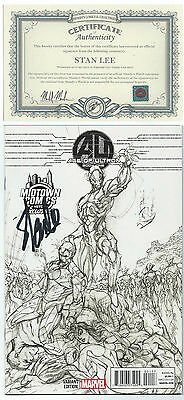 Age Of Ultron  Book One Midtown Variant Campbell Sketch Signed Stan Lee W/ Coa