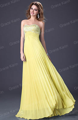 Yellow US4 Long Wedding Evening Prom Gown Homecoming Party Formal Bridal Dresses
