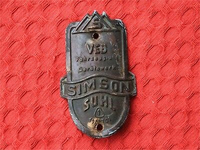 RARE ANTIQUE AWO SIMSON SUHL MOTORCYCLE BADGE .