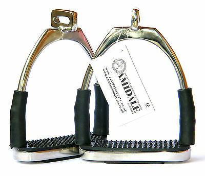 Offset Eye Flexi Safety Stirrups For Optimum Leg Position Horse Riding In Silver