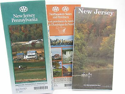 3 Lot AAA 1997 MAP New Jersey, Pennsylvania & Northeastern States w/Provinces