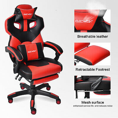 Racing Office Gaming Chair High Back Swivel Recliner Computer Desk Seat Footrest