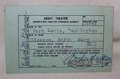 UNITED STATES ARMY THEATER PASS-MILITARY DEPENDENT-FORT LEWIS WASHINGTON-USA