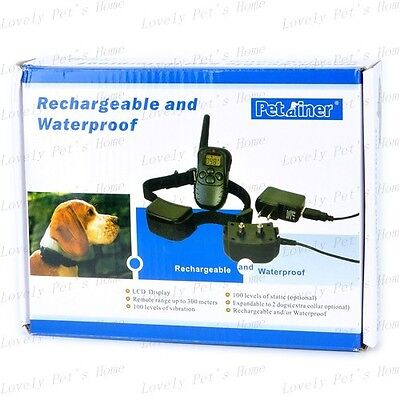 300 Yard Rechargeable Remote Pet Dog Training Shock Vibration Collar For 2 Dogs