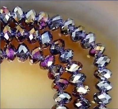98pcs 6mm Glass Crystal Loose Beads rondelle faceted round AB DIY Jewelry purple