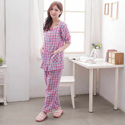 New 2 pcs Japanese Weekend Maternity Nursing Pajama Tops+Pants Cute Sleepwear