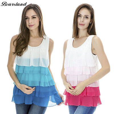 Maternity Breastfeeding Clothes Summer Tee Sleeveless Nursing Top Chiffon Vest