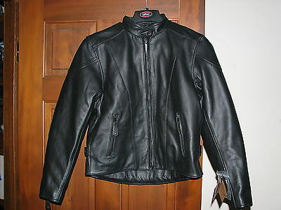 New River Road Womens Race Jacket Leather Motorcycle Riding Medium 091548 Md