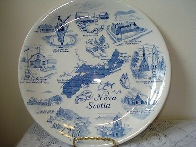 Alfred Meakin England Flow Blue Sights of Nova Scotia Display Plate