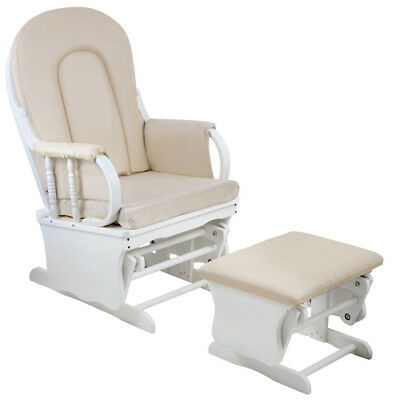 Baby Breast Feeding Sliding Glider Chair with Ottoman White Beige Nursing Aid Fu