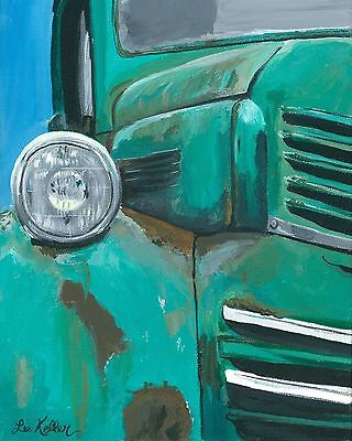 Truck print, old truck rustic art from original painting 11x14, signed by artist