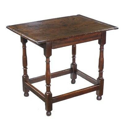 Pre-1800 Antique Traditional Period English Oak Side Hall Table