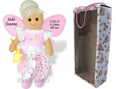 Personalised Rag Doll New Baby Girl Keepsake Gift - Embroidered Fairy Doll