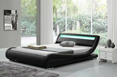 LED Light Bed Single Double King Designer Modern Rio Low Frame Faux Leather