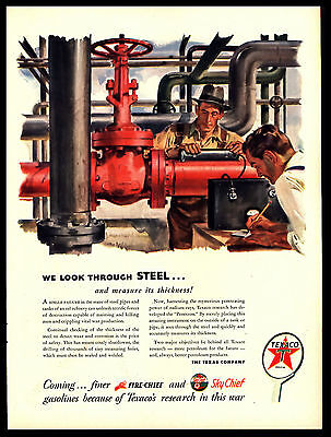Original 1944 Texaco Fire-Chief Skychief - Look Through Steel  Vtg  Art Print Ad
