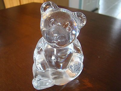 Princess House Lead Crystal Teddy Bear Glass Figurine Paperweight Germany 131557