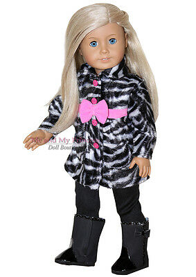 "ZEBRA COAT + LEGGINGS + BLACK BOOTS  - clothes fits 18"" American Girl Doll Only"