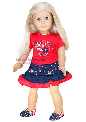 PATRIOTIC TOP + STAR SKIRT + SHOES outfit Clothes fits American Girl Doll Only