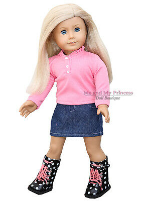"CORAL TOP + DENIM SKIRT + DOT BOOTS Clothes fits 18"" American Girl Doll Only"