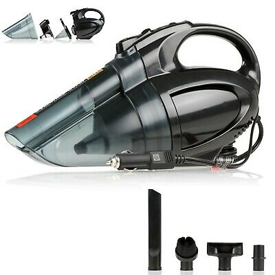 TOP 12V Portable Handheld Car Vacuum Cleaner Led Lamp 2 Filters 138W Wet Dry